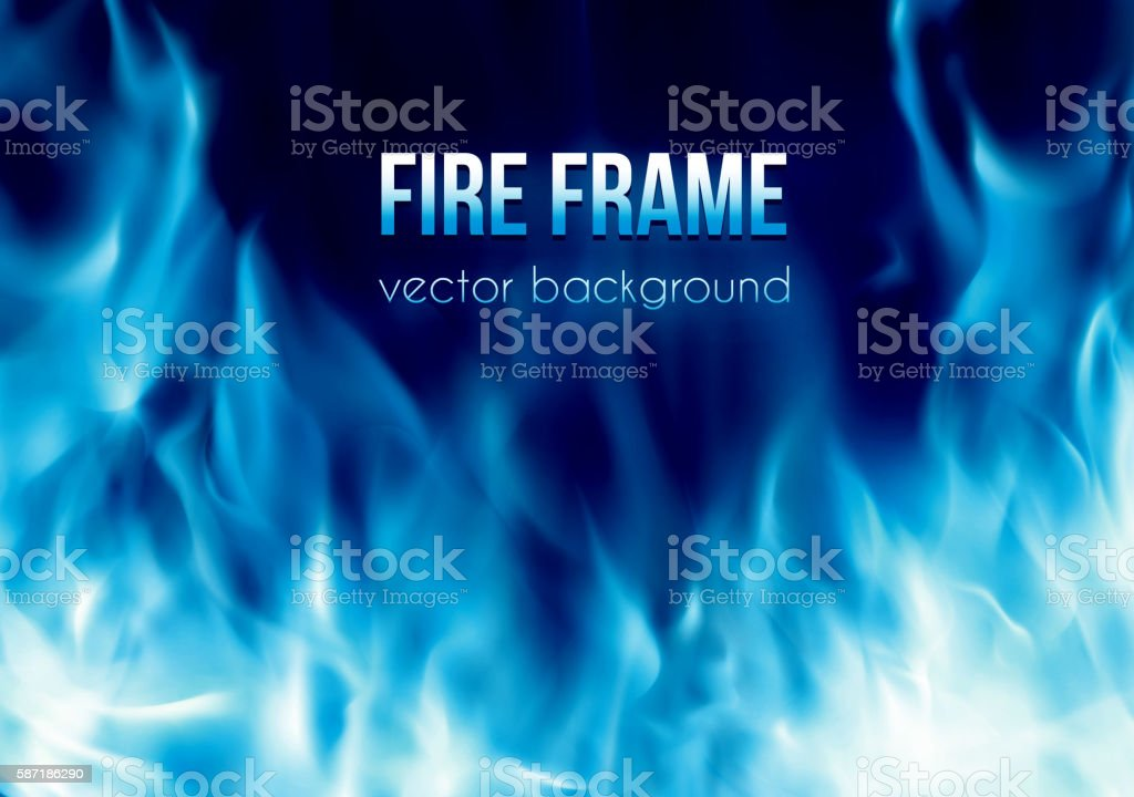 Vector banner with blue color burning fire frame vector art illustration