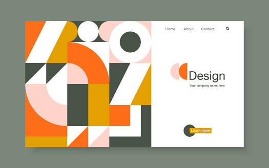 Vector banner with bright geometric forms in trendy bauhaus style. Landing page design template, stock vector illustration.
