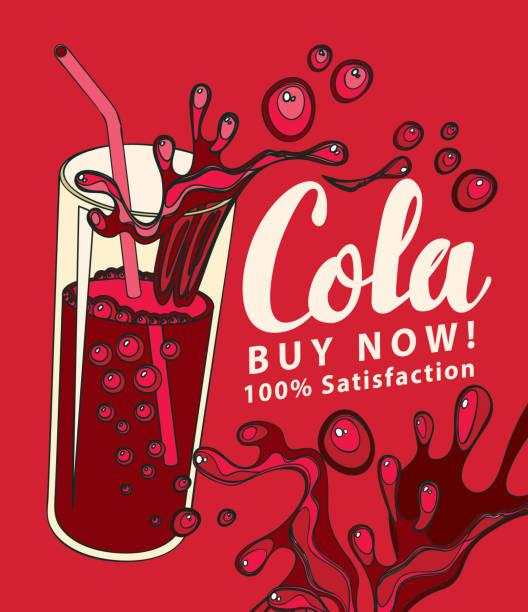 stockillustraties, clipart, cartoons en iconen met vector banner met cola drinkglas in retro stijl - cola