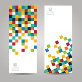 Vector banner with colorful squares