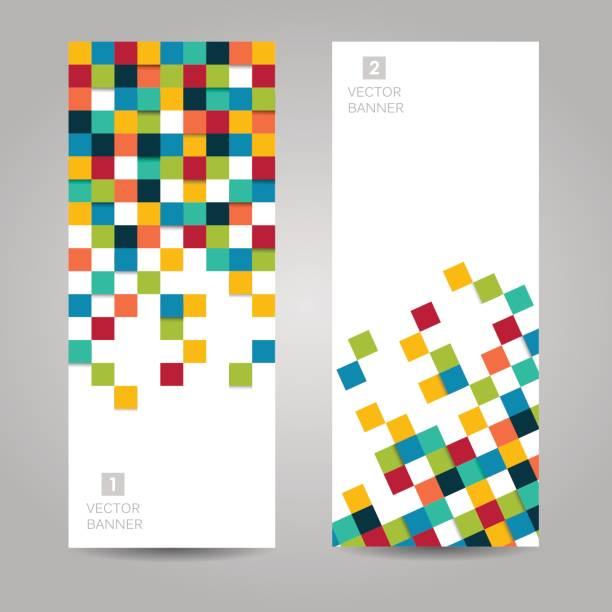 Vector banner with colorful squares vector art illustration