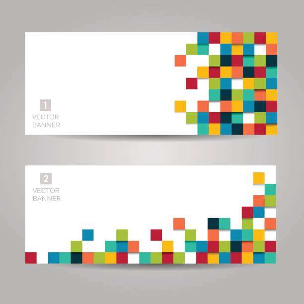 Vector banner with colorful squares Abstract vector banner with colorful squares square composition stock illustrations