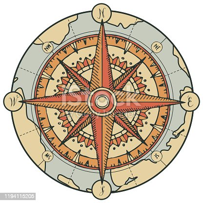 istock vector banner with compass, wind rose and old map 1194115205