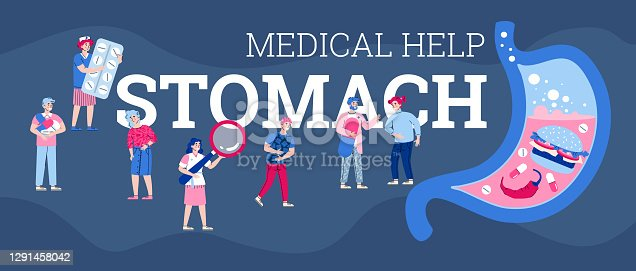 istock Vector banner with doctors providing medical help for people with stomach pain 1291458042