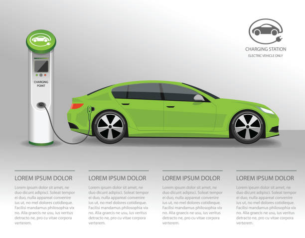 Vector banner with electric car and charging station Vector banner with electric car and charging station electric vehicle stock illustrations