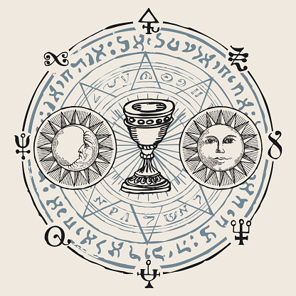 vector banner with grail and esoteric symbols