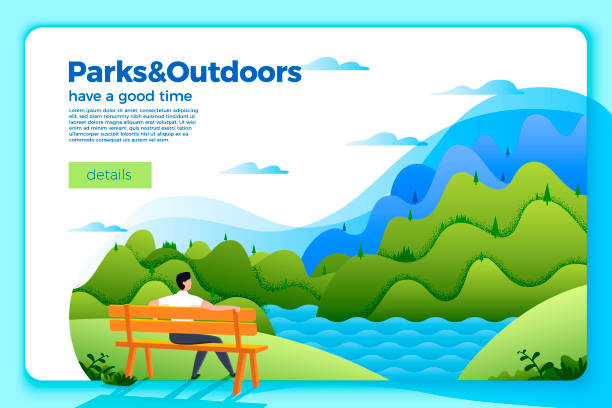 vector banner with man on a bench on the river - river paper stock illustrations, clip art, cartoons, & icons
