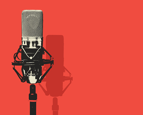 vector banner with microphone and place for text