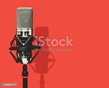 istock vector banner with microphone and place for text 1162824777