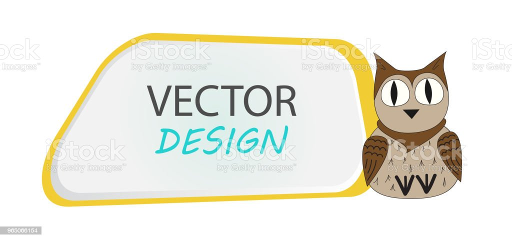 Vector banner with owl. Frame for text with a character. Cartoon frame for text. Design of banners for children. royalty-free vector banner with owl frame for text with a character cartoon frame for text design of banners for children stock vector art & more images of animal