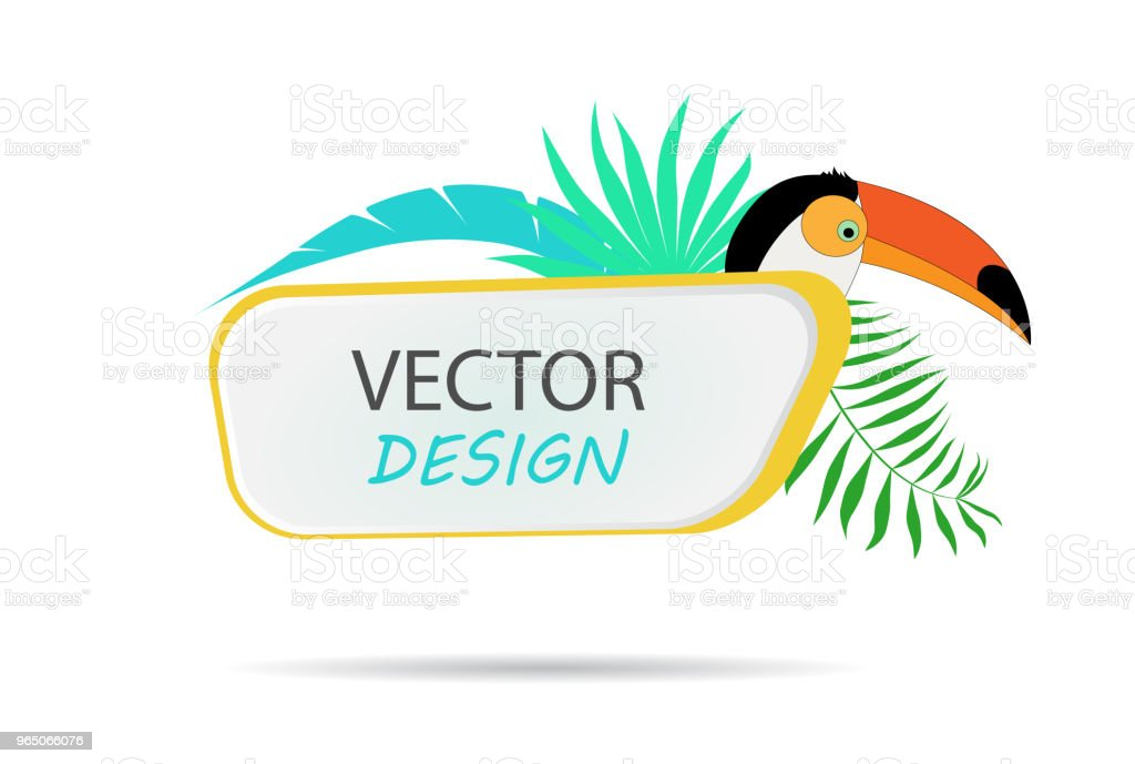 Vector banner with palm leaves and toucan. Design of tropical banner. Frame for text with palm leaves. Vector frame for banner. royalty-free vector banner with palm leaves and toucan design of tropical banner frame for text with palm leaves vector frame for banner stock vector art & more images of abstract