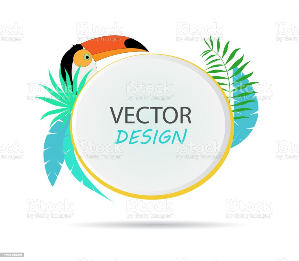 Vector banner with palm leaves and toucan. Design of tropical banner. Frame for text with palm leaves. Vector frame for banner. vector banner with palm leaves and toucan design of tropical banner frame for text with palm leaves vector frame for banner - stockowe grafiki wektorowe i więcej obrazów abstrakcja royalty-free