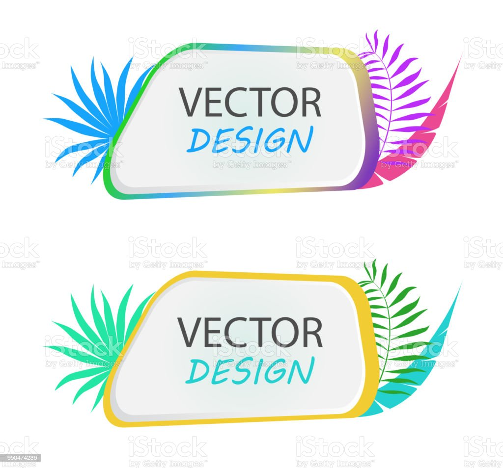 Vector banner with palm leaves. Design of tropical banner. Frame for...