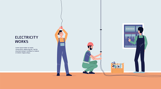 Vector banner with professional electricians workers performing electric works