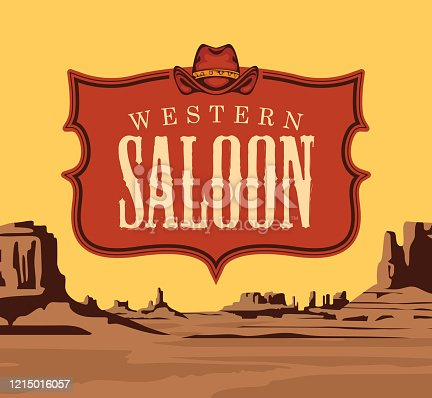 Vector banner with the logo of a Western saloon and a cowboy hat on the background of a scenic landscape with desert American prairies. Decorative illustration on the theme of the Wild West
