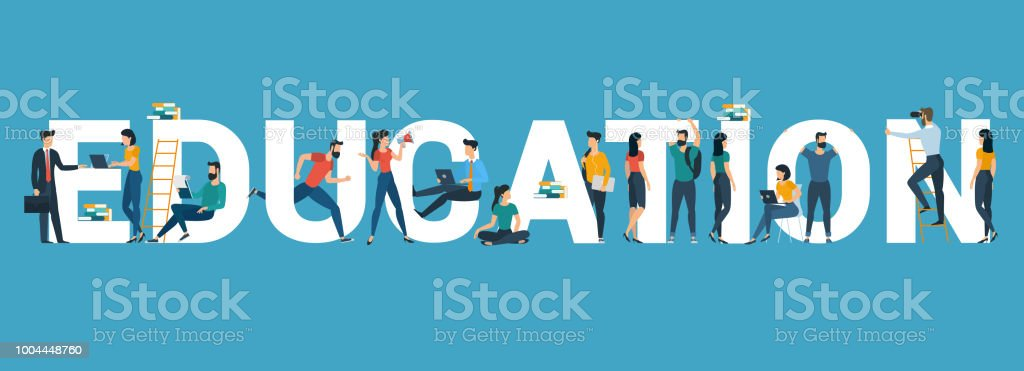 Vector banner with the word 'education'. vector art illustration