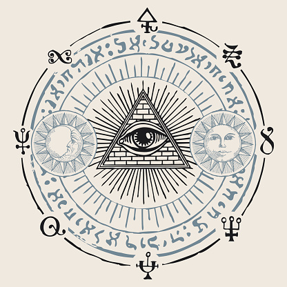 vector banner with third eye and esoteric symbols