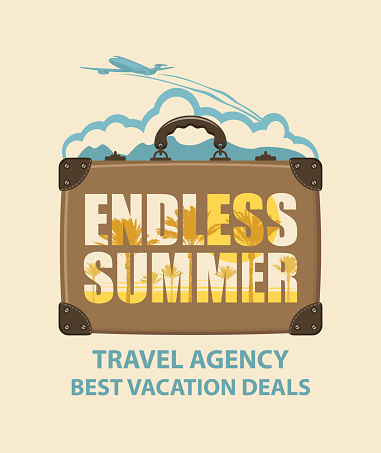 vector banner with travel suitcase and airplane