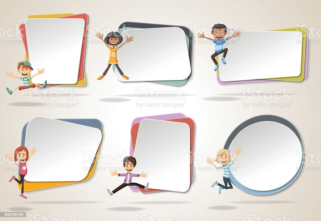 Vector banners / backgrounds with cartoon kids jumping. - illustrazione arte vettoriale