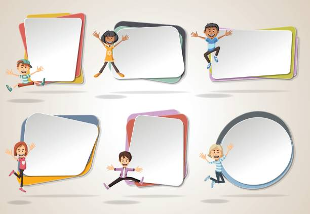 vector banners / backgrounds with cartoon kids jumping. - kids stock illustrations, clip art, cartoons, & icons