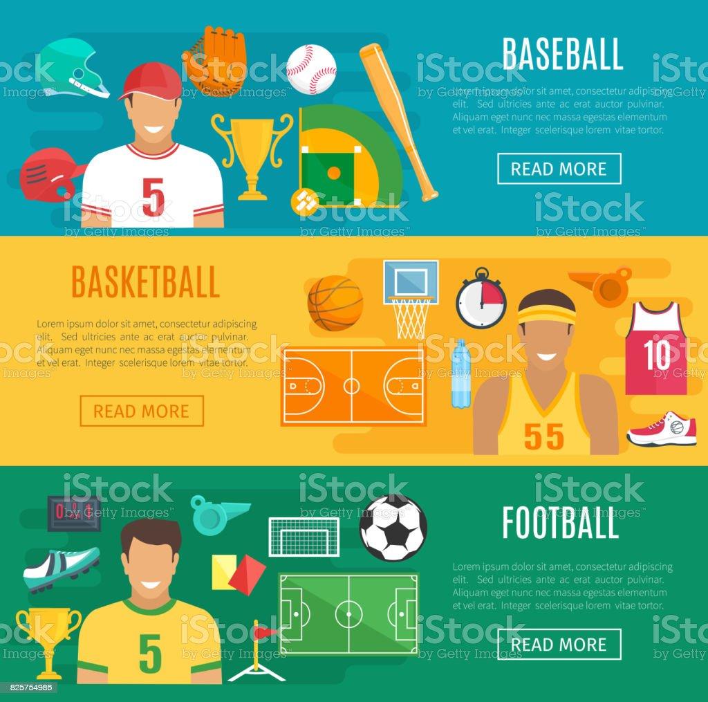 Vector banners baseball, football basketball sport vector art illustration