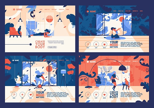 Vector banners collection with young flat women training at home. Vibrant orange and blue colors, floral elements and leaves, large windows at room. Landing pages for indoor workout, yoga and exercise