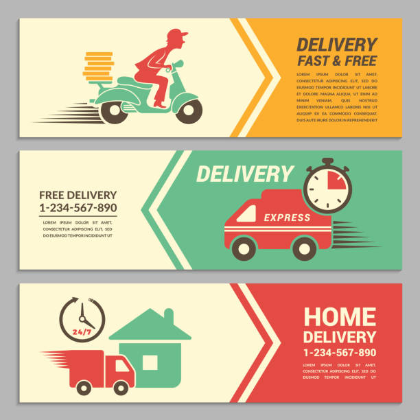 Vector banners design template for fast delivery service vector art illustration