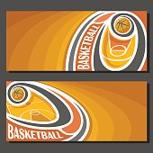 Vector banners for Basketball game: thrown basketball ball flying on curve trajectory above sport court, 2 tickets to sporting tournament with empty field for title text on orange abstract background.
