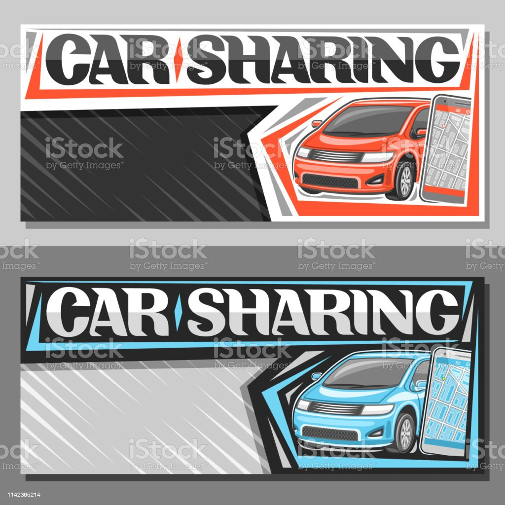 Vector banners for Car Sharing with copy space, signage with red and...