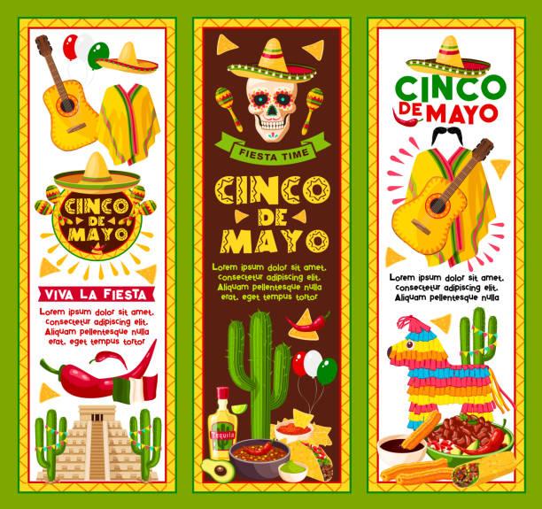 vector banners for cinco de mayo mexican holiday - cinco de may stock illustrations, clip art, cartoons, & icons