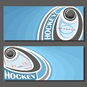 Vector banners for Ice Hockey game: hockey puck on curve trajectory flying above sports ice rink, 2 template tickets to winter sporting tournament with empty for title text on blue abstract background