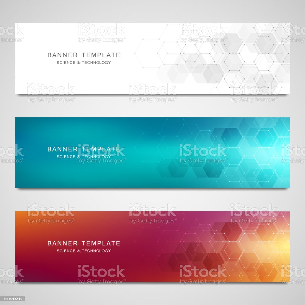 Vector banners for medicine, science and digital technology. Geometric abstract background with hexagons design. Molecular structure and chemical compounds vector art illustration