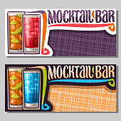 Vector banners for Mocktail Bar with copy space, 2 non alcoholic drinks, original lettering for words mocktail bar, chilled alcohol free cocktails with fresh lemon and ice cubes for fun beach holiday