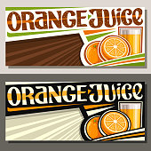 Vector banners for Orange Juice with copy space, horizontal layouts with illustration of fruit drink in glass, 2 cartoon oranges and unique brush lettering for words orange juice on striped background