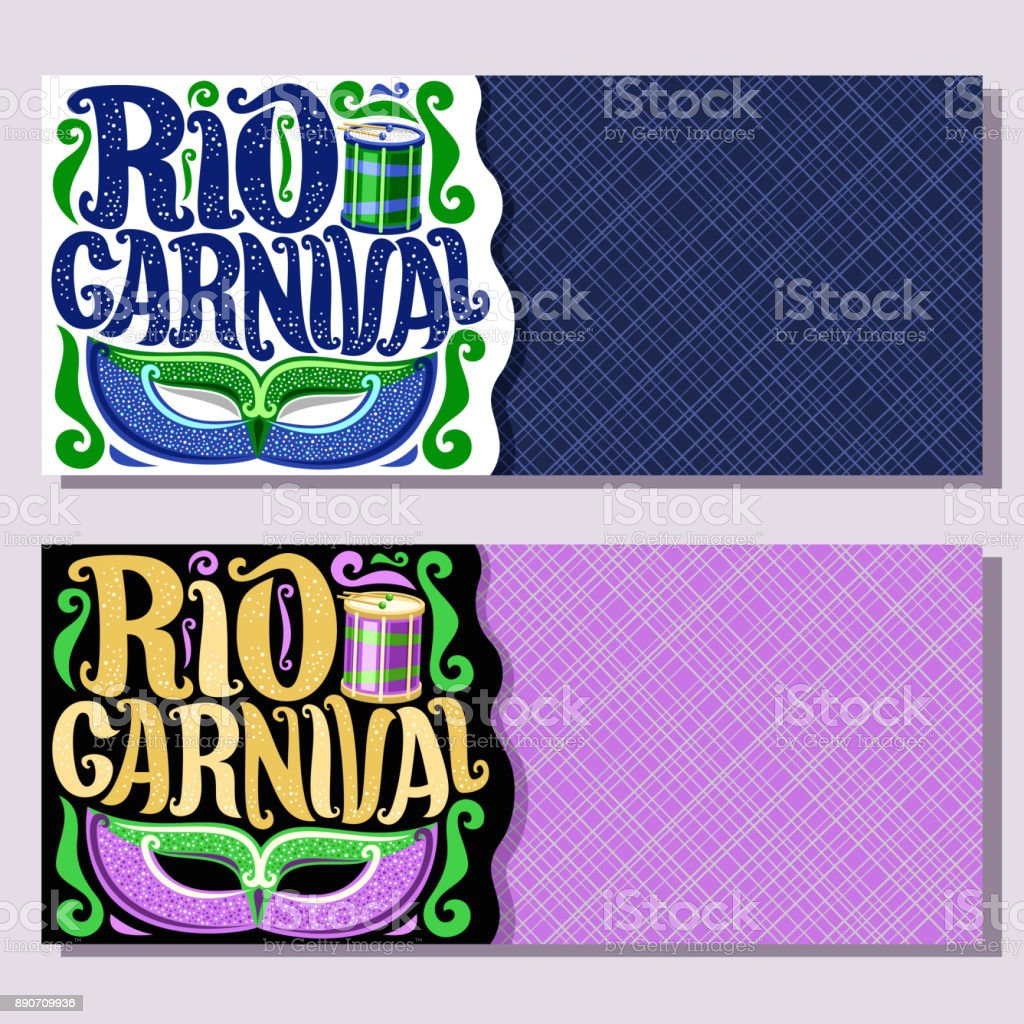 Vector banners for Rio Carnival vector art illustration