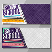 Vector banners for School with copy space, layouts leaflet with set of writing accessories, original typeface for words back to school, on checkered background colorful stationery for lesson in class.
