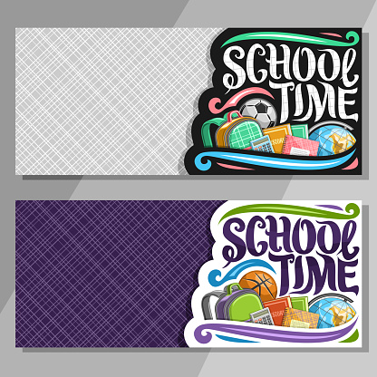 Vector banners for School with copy space