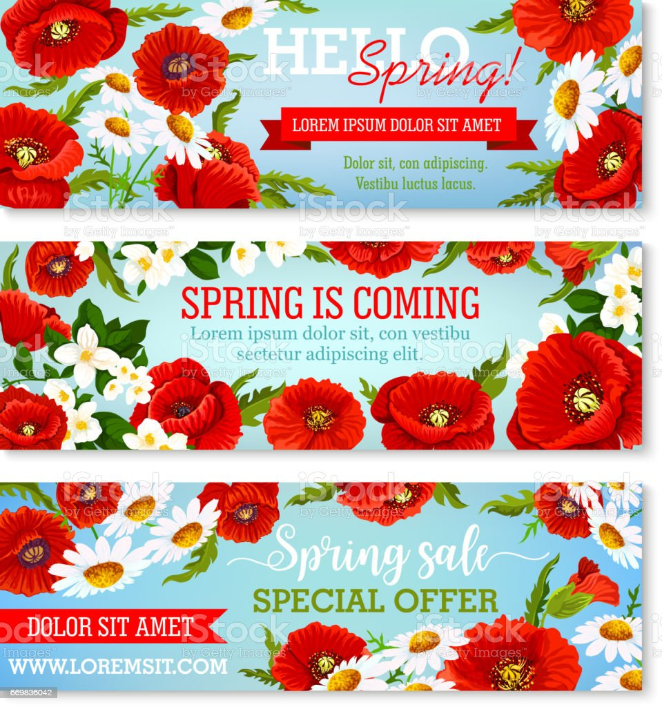 Vector Banners For Spring Time Flowers Sale Stock Vector Art More