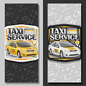Vector banners for Taxi Service, vertical layouts with standing cartoon sedan and cellphone, original typography for words taxi service, innovation design signboard for cheap transportation company.