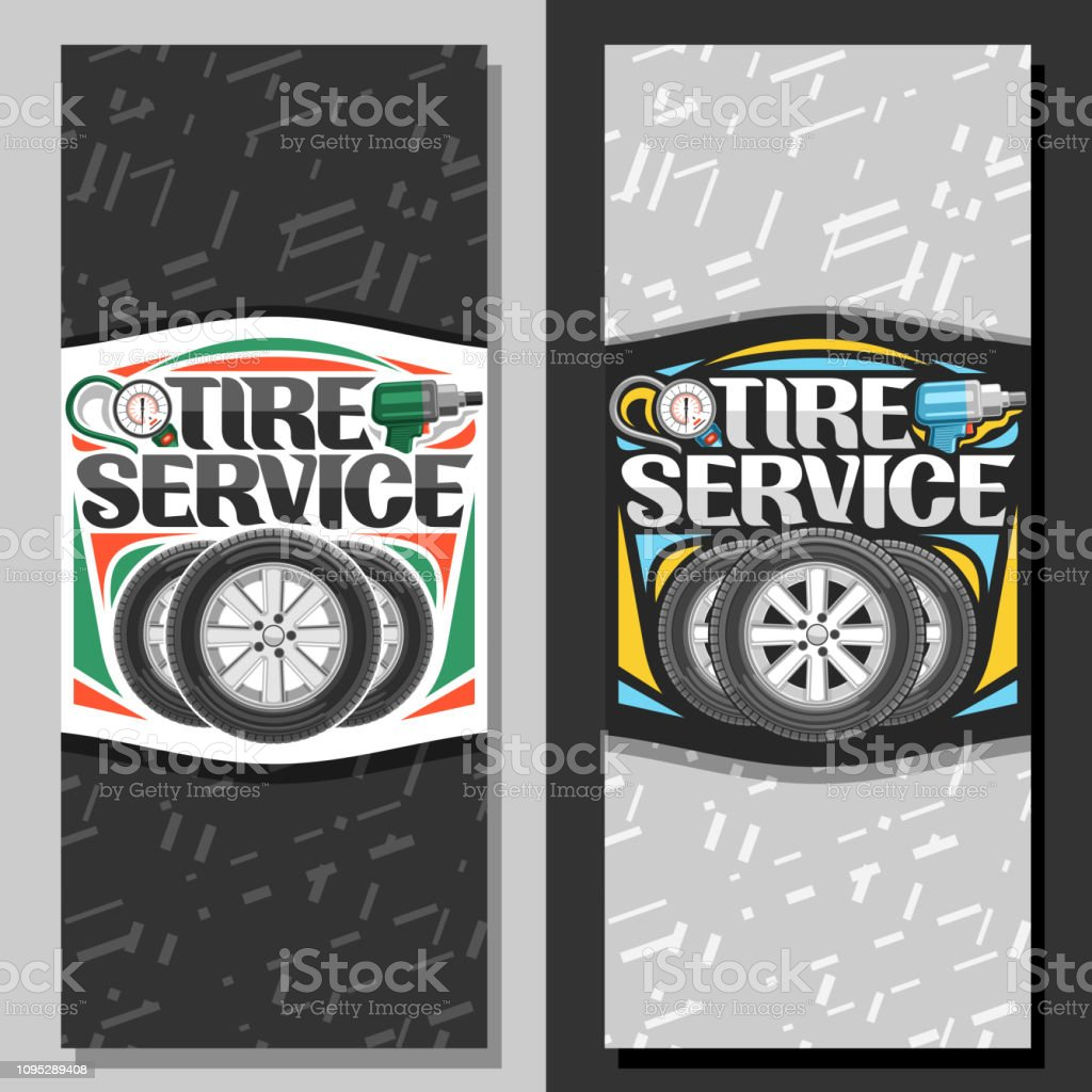 Vector banners for Tire Service vector art illustration