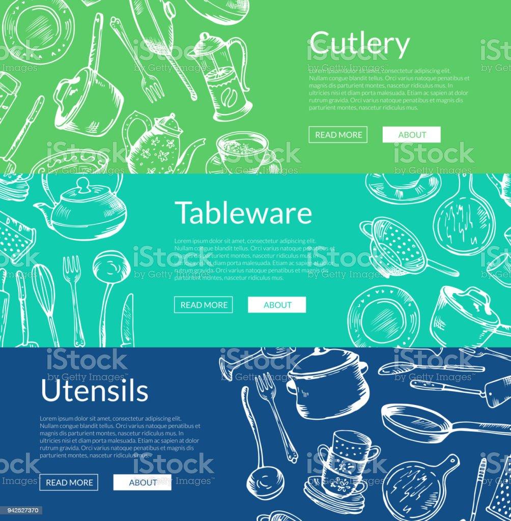 Bannervektorgrafik Mit Hand Gezeichnet Küchenutensilien Stock Vektor ...