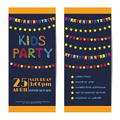 Vector banners, invitation cards set. Kids party