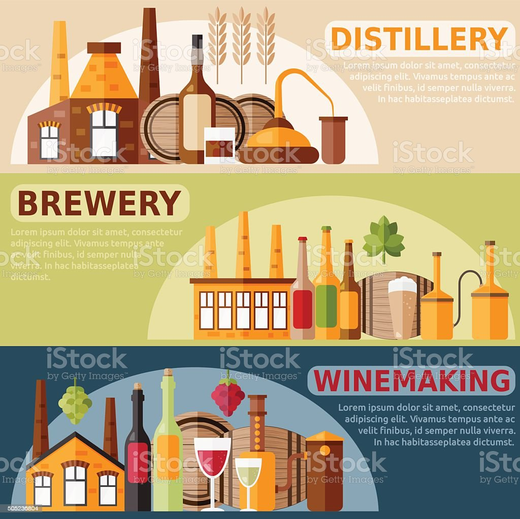 vector banners on distillery,winemaking and brewery theme vector art illustration