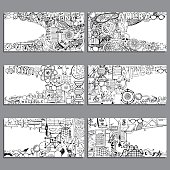 Vector Banners Set. Biology, Chemistry and Geomerty Doodle Elements. Hand Drawn illustration on the Science and School Education theme. Black And White Illustration.