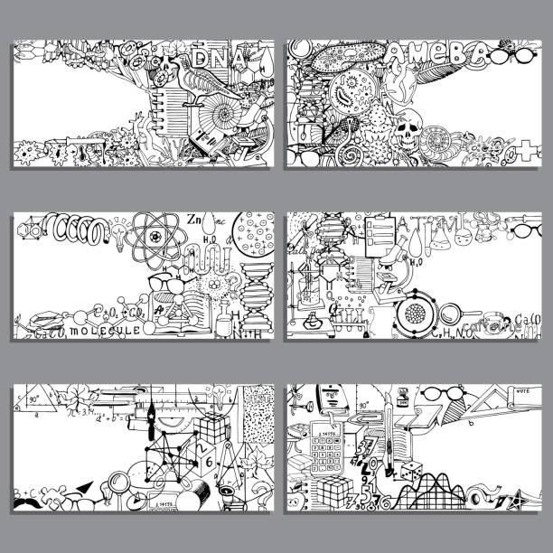 vektor-banner-set. biologie, chemie und einlesen doodle elemente. - naturwissenschaftsunterricht stock-grafiken, -clipart, -cartoons und -symbole