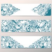 Vector Banners Set. Collection of Music Instruments. Hand drawn Illustration in Doodle Style.