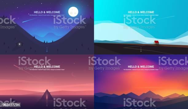 Banery Wektorowe Ustawione Ilustracja Pozioma Płaska Konstrukcja - Stockowe grafiki wektorowe i więcej obrazów Zachód słońca