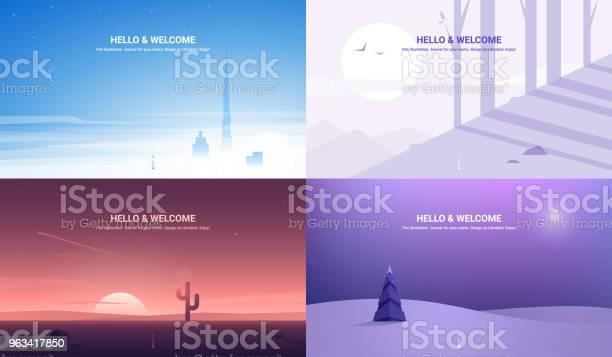 Banery Wektorowe Ustawione Ilustracja Pozioma Płaska Konstrukcja - Stockowe grafiki wektorowe i więcej obrazów Las