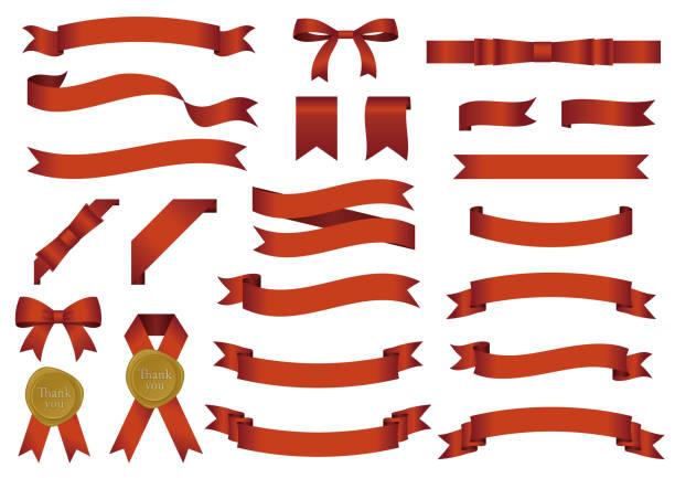 Vector banners set of glossy ribbon Vector banners set of glossy ribbon ribbon sewing item stock illustrations