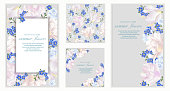 istock Vector banners set with forget me not, tulips and violets flowers. 960273724
